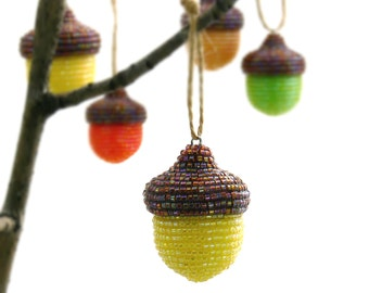 Acorn Ornament Yellow Beaded Fall Woodland Thanksgiving Holiday Decoration Hostess Gift *READY TO SHIP