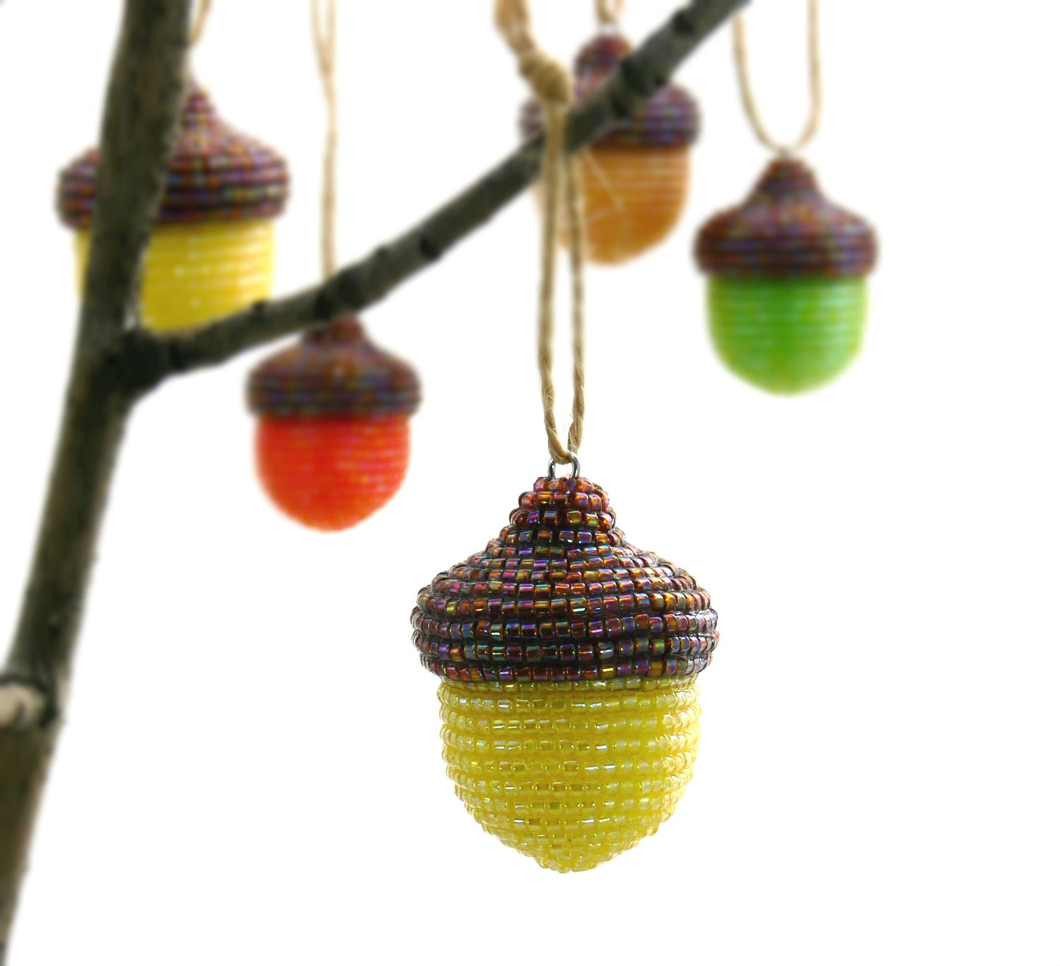 Acorn christmas ornament yellow beaded fall woodland for How to make acorn ornaments