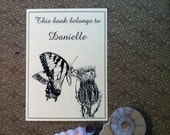 Booklabels Butterfly on a Thistle 15 Personalized Ex Libris Bookplates
