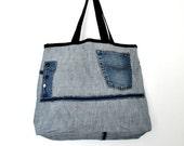 Ooak Large Denim Tote Bag No.9