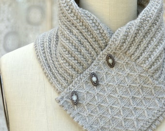 Quilted Lattice Ascot PDF Knitting Pattern Instant Download
