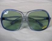 Sadie vintage blue sunglasses. 1970's huge fly screen/ bug eye frames / greenish tinted glass lens glasses.  deadstock.