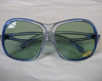 vintage blue sunglasses oversized glasses 70s blue sunglasses retro eyewear new old stock