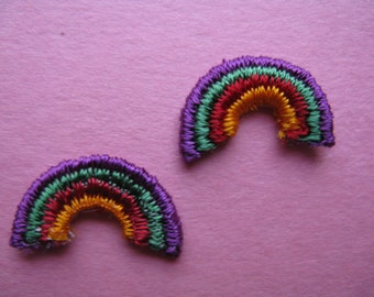 vintage rainbow patch, 1970's embroidered trim / pair of mini ROYGBIV, new old stock.
