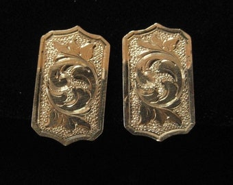 Chased Gold Filled Metal Earrings, circa 1915