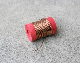 Vintage Wooden Spool Copper Wire Jewelry Making Supplies Metal Working