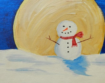 Snowman in Moonlight - Original Painting by Jamies Art 8x10