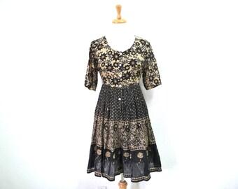 Vintage 90s Jumpsuit Dress Indian Cotton Summer Fashion S M