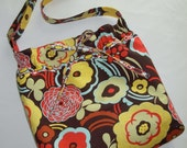 SALE   SALE  SALE  Free U S ShippingDiaper Bag, Tote, Hobo Bag,  Drawstring, Novelty Print, Retro Floral Brown Yellow Red Blue