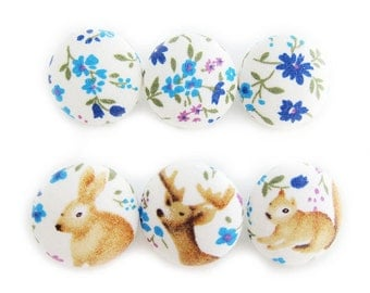 Sewing Buttons / Fabric Buttons - Woodland Critters on Blue - 6 Medium Buttons - Fabric Covered Buttons