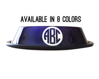 Custom Dog Bowl - Monogram Pet Dish - 8 Colors -