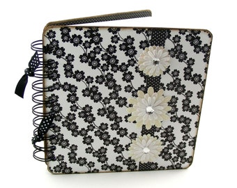 Zebra Flowers II Lined Journal, 6x6 - black, white
