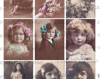 Instant Download - Vintage Children - ATC 2.5 x 3.5 Size