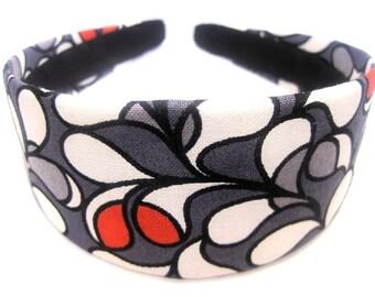 Gray White Red Headband 2 Inch