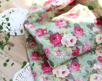 Lovely Rose Garden on Green cotton, U7151