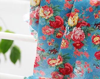 Lovely Rose Garden on Blue Gauze WIDE 144cm, U7189