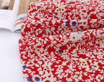 A Yard, Lovely Floral on RED Assa Cotton WIDE 140cm, U7272