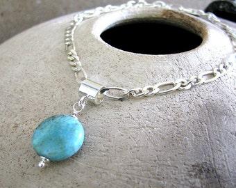Turquoise Bracelet, Sterling Silver Bracelet, Genuine Turquoise Charm, Sterling Silver Chain - Blue Skies