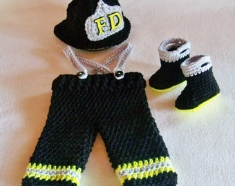 Firefighter baby outfit - Baby Firefighter - fireman clothes - baby firefighter gifts - baby firefighter costume - photo prop - fireman