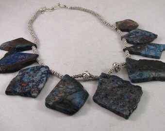 Chunky Blue Agate and Silver Necklace