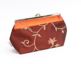 Orange and Brown taffeta embroidered evening or wedding frame purse.