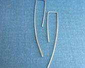 Tiny sterling silver long wire earring, minimal modern simple hook.
