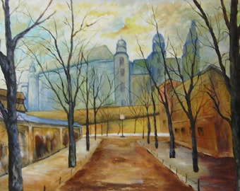 Wyspianskis Wawel in the Morning - Oiginal Landscape Acrylic Painting