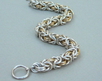 Chain maille bracelet sterling silver and gold fill Byzantine
