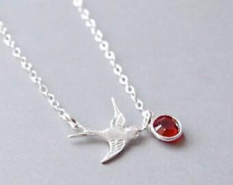 Sterling Silver Bird Necklace, Birthstone Necklace, Bird Necklace Silver, Birthstone Necklace for Girls, Kids Jewelry, Girls Jewelry, Bird