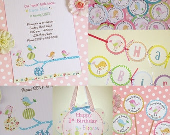 Bird Birthday Party Package Birdy Parade Theme Invites Thank Yous Favor Tags Cupcake Toppers Banners Door Sign