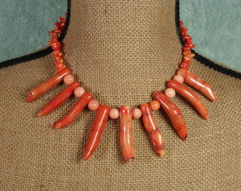 AAA Orange Coral Branch and Silver Necklace