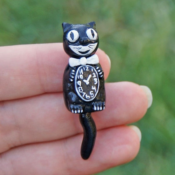 Dollhouse miniature retro kit cat black cat wall clock - Kitty cat clock ...