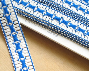 Blue and White Vintage Trim Braid - Blue and white Patterned Trim