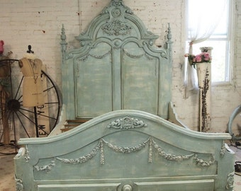 French Bed Painted Cottage Shabby Chic French Aqua Romantic King / Queen Bed