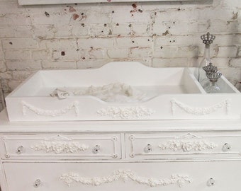 Painted Cottage Shabby White Romantic Changing Table Tray CH86