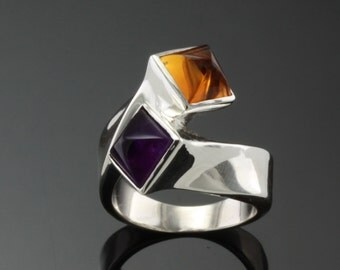 Sterling Silver Ring set with one 7mm square sugarloaf cut Amethyst and one sugarloaf cut Citrine