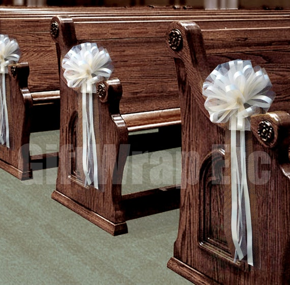 6 large ivory tulle pull bows wedding pew by giftwrapetc on etsy - Bow decorations for weddings ...