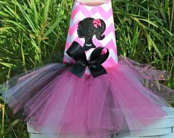 Dog Tutu Harness Dress, Pink Chevron Doll
