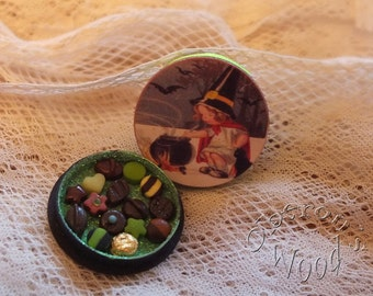 Box of Miniature Chocolates with Vintage Witch Child and Black Cauldron