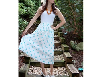 1980s dress, skirt and top, aqua white, polka dot dress, two piece set, blousy top, full skirt, Size M