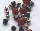 Red Lampwork Bead Kit, Bracelet Kit, Red Bump Beads, Silver Beads, Black Beads, Jewelry Supplies