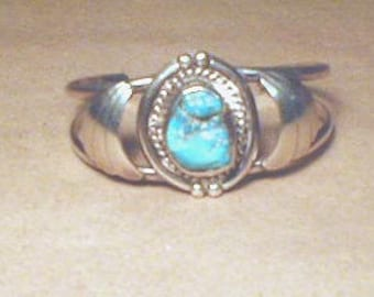 Navajo Native American Sterling Cuff Bracelet with Turquoise Stone  Vintage 1970s Free ship in USA