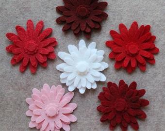 Strawberry Fields- Mums - 48 Die Cut Wool Blend Felt Flowers