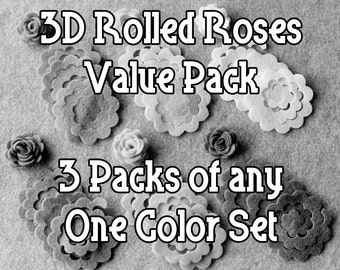 Design Your Own - Felt Value Pack - 72 Unassembled Rolled Roses - 3D Rosettes