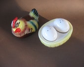 SALE Vintage Hen Sitting on Eggs in Ceramic Basket Salt and Pepper Shaker Set