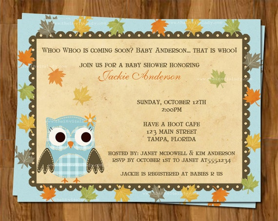 fall owl baby shower invitations autumn hoot by theinviteladyshop
