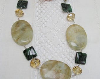 Semi-Precious GemStone and Crystal Necklace, Sterling Silver with Freshwater Pearl necklace