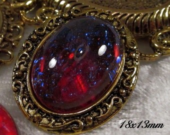 18x13mm Mexican Opal (Dragons Breath) - Glass Cabochon - 1 pc : sku 07.18.13.1 - R7