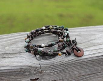 Fancy Jasper Leather Wrap Bracelet
