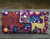 Wallet for women deer and trees clutch all vegan materials
